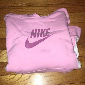 Pink and white Nike hoodie